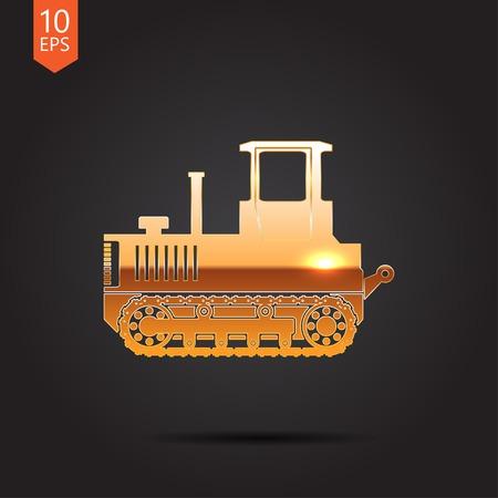 heavy: Vector gold heavy machine icon on dark background