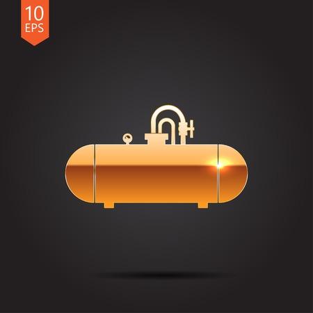 cisterna: Vector icono de oro cisterna sobre fondo oscuro