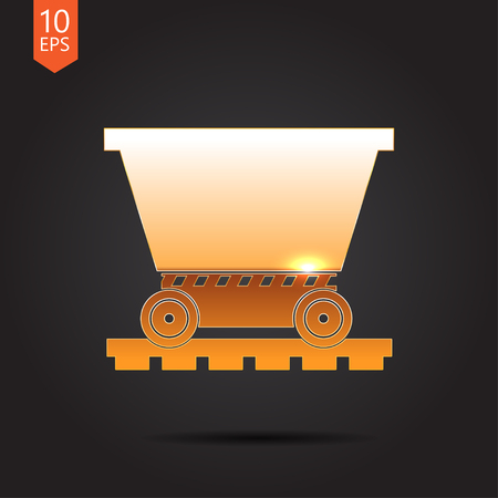 vetor: Vetor gold trolley icon on dark background
