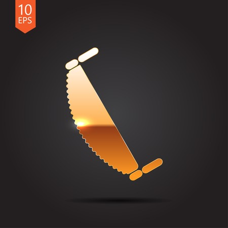 crosscut: Vector gold saw icon on dark background . Industrial equipment
