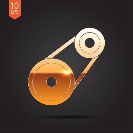 timing belt: Vector gold belt drive icon on dark background Illustration