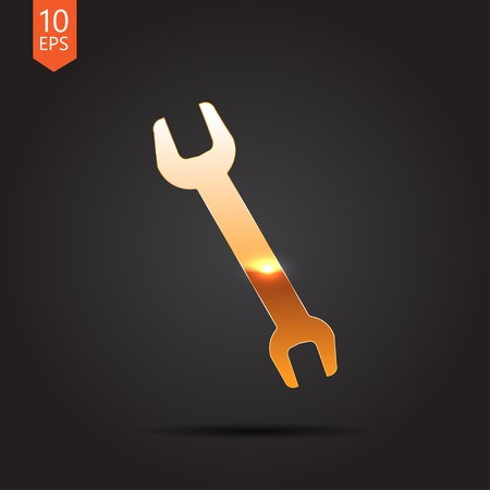 adjustable: Vector gold adjustable wrench icon on dark background
