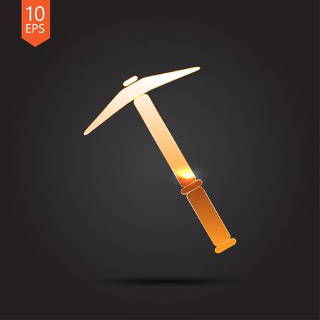 vetor: Vetor gold pick icon on dark background Illustration
