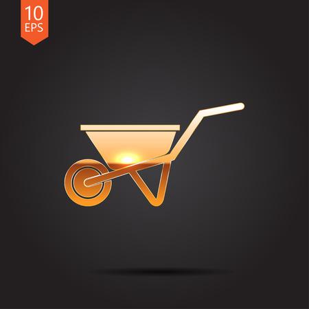 barrow: Vector gold barrow icon on dark background