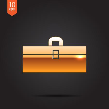toolkit: Vector gold toolkit icon on dark background . Industrial equipment Illustration