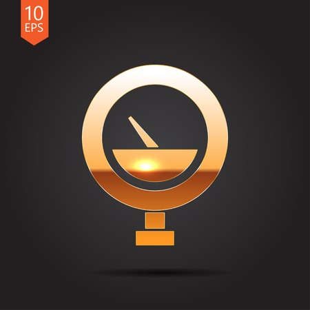 manometer: Vector gold manometer icon on dark background Illustration