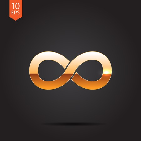 infinity icon: Vector gold infinity icon on dark background Illustration