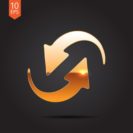 gold circle: Vector gold circle round arrows for business, diagram on dark background