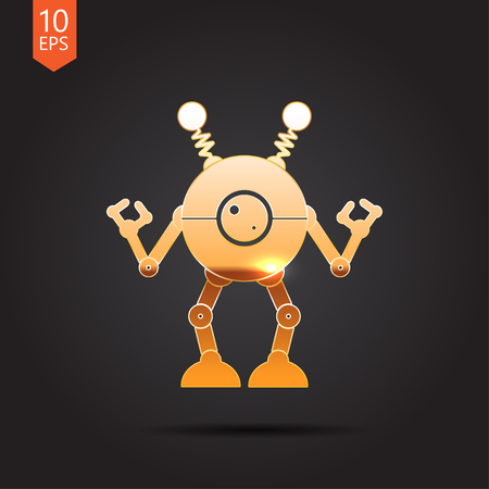 robot toy: Vector gold retro robot toy icon on dark background