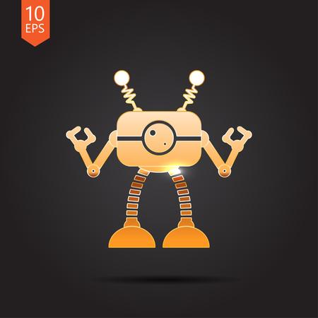 retro robot: Vector gold retro robot toy icon on dark background