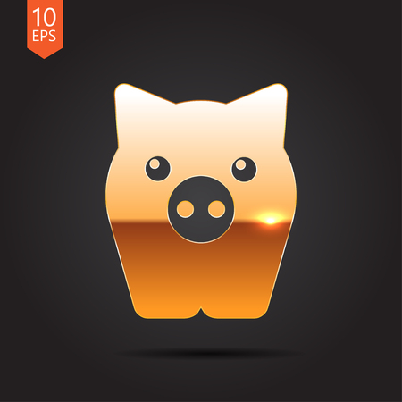 oink: Vector gold pig icon on dark background