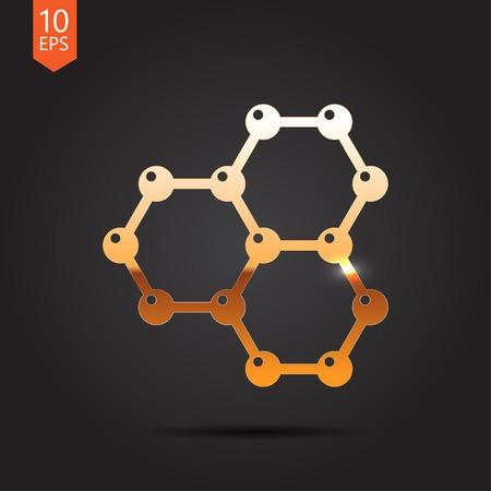 graphene: Vector gold graphene icon on dark background . Science illustration