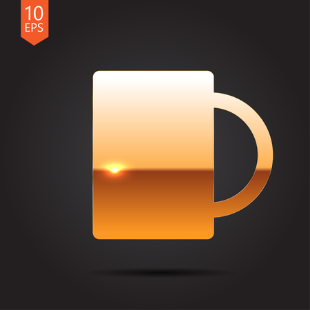 coffee mugs: Vector gold cup for tea or coffee icon on dark background Illustration
