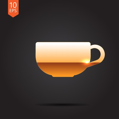gold cup: Vector gold cup for tea or coffee icon on dark background Illustration