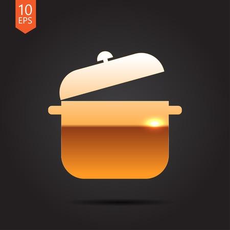 saucepan: Vector gold saucepan icon on dark background