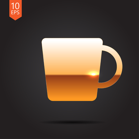 dine: Vector gold cup for tea or coffee icon on dark background Illustration