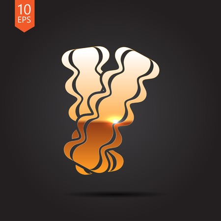 grease: Vector gold bacon icon on dark background