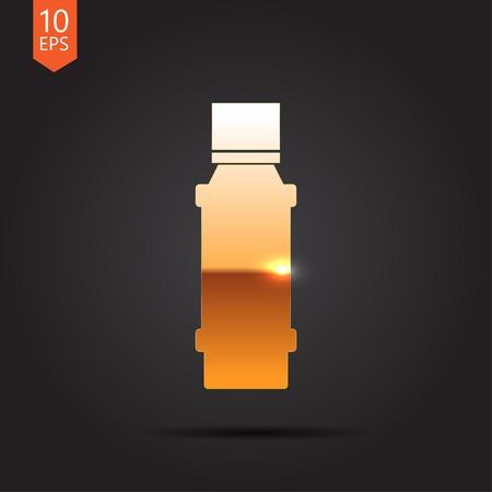 flavoring: Vector gold flavoring bottle on dark background . Kitchen icon