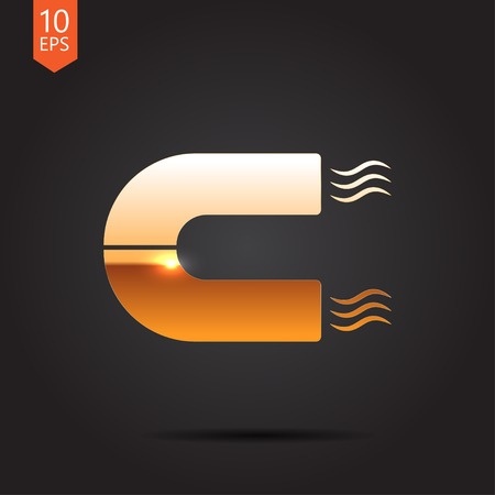 electromagnetic field: Vector gold magnet icon on dark background