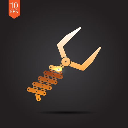 automaton: Vector gold robot hand icon on dark background