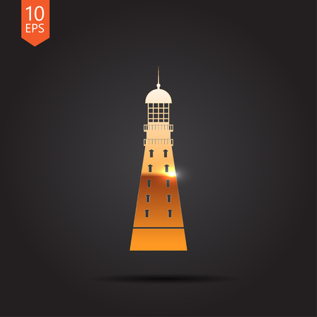 lighthouse keeper: Vector gold lighthouse icon on dark background