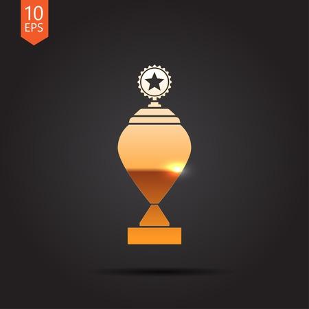 goblet: Vector gold trophy goblet icon on dark background . Winner award