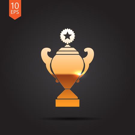 background trophy: Vector gold trophy goblet icon on dark background . Winner award