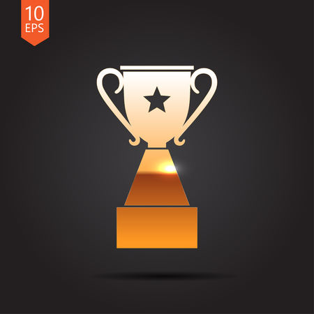 trophy: Vector gold trophy goblet icon on dark background . Winner award