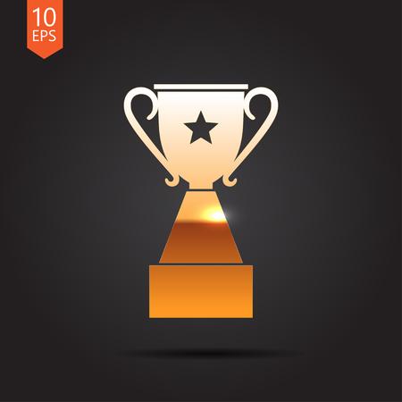 trofeo: Vector trofeo de oro icono de la copa en el fondo oscuro. Ganador Vectores