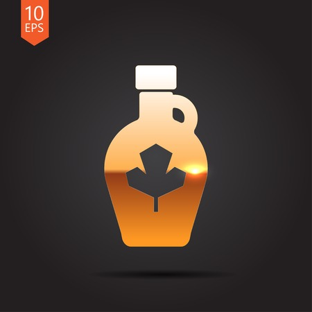 Vector gold maple syrup bottle template on dark background