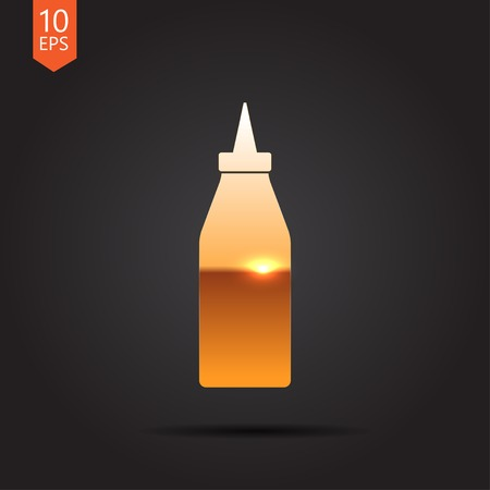 catsup bottle: Vector gold bottle with ketchup icon on dark background