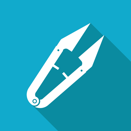 ripper: Vector white flat tailor seam ripper icon on blue background
