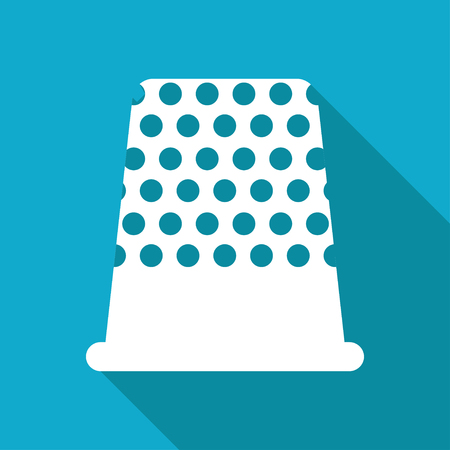 thimble: Vector white flat tailor thimble for finger icon on blue background