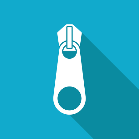 apparel part: Vector white flat tailor zipper icon on blue background Illustration