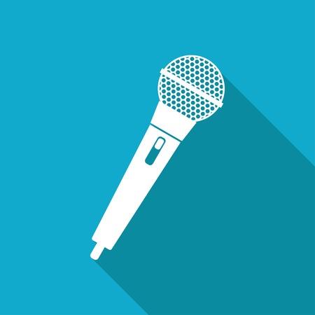 microfono antiguo: Conjunto blanco del icono del micr�fono mano plana sobre fondo azul