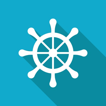 schooner: Vector white flat steering wheel icon on blue background
