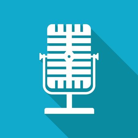 entertaining presentation: Vector white flat retro microphone icon on blue background Illustration