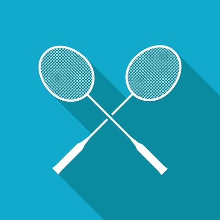 badminton sport symbol: Vector white flat badminton icon on blue background