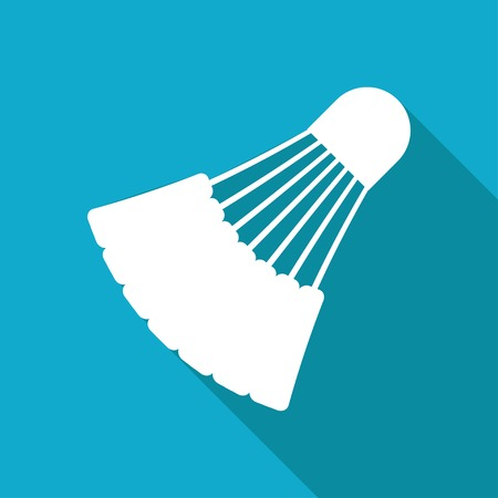 cross match: Vector white flat simple badminton icon on blue background Illustration