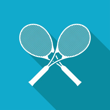 bounces: Vector white flat tennis rackets icon on blue background Illustration
