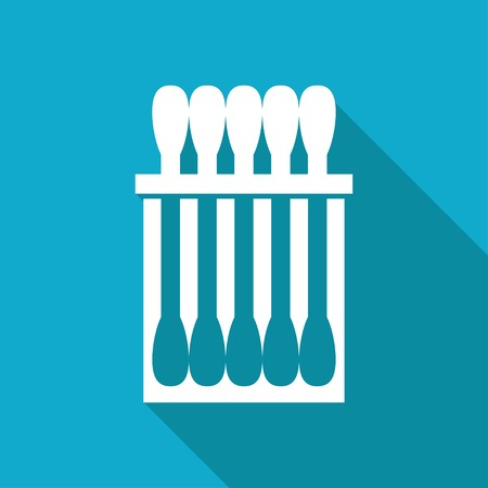 cleanliness: Vector white flat cotton swabs icon on blue background