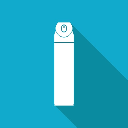 freshener: Vector white flat air freshener aerosol bottle on blue background Illustration