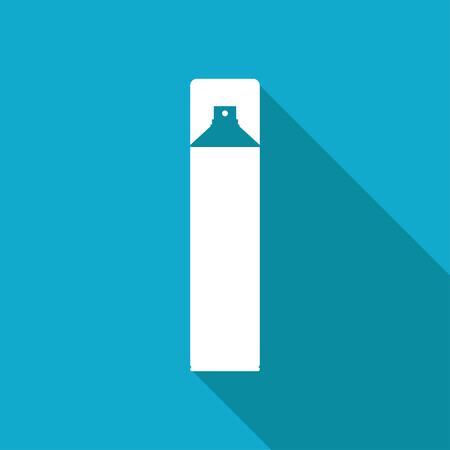 aerosol: Vector white flat air freshener aerosol bottle on blue background Illustration