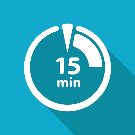 interval: Vector white flat timer icon on blue background
