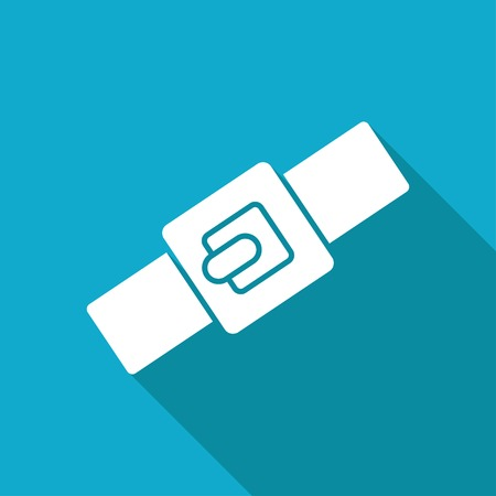 blue collar: Vector white flat pets collar icon on blue background