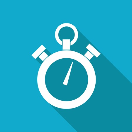 watch movement: Vector white flat retro stopwatch icon on blue background