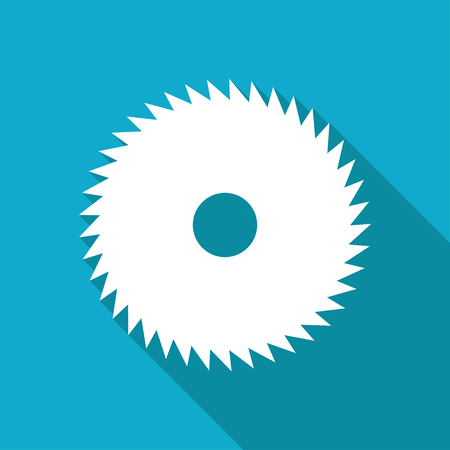 circular saw: Vector white flat circular saw icon on blue background