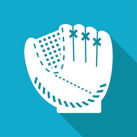 Vector blanc gant de baseball plat icône sur fond bleu