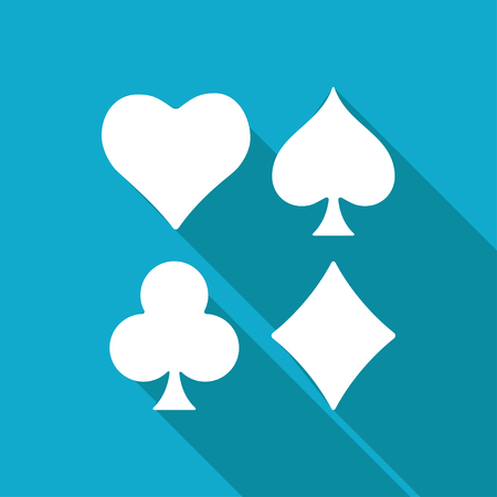 black jack: Vector white flat game casino cards suit icon on blue background