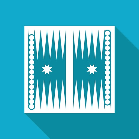backgammon: Vector white flat backgammon table with dices icon on blue background Illustration